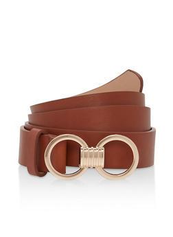 Plus Size Metallic Buckle Detail Faux Leather Belt - 1128073336680