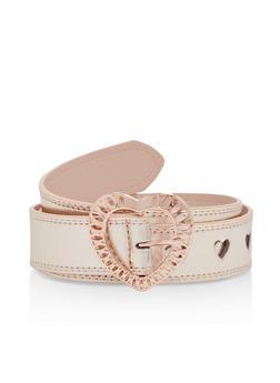 Faux Leather Heart Cutout Belt - 1128073336810