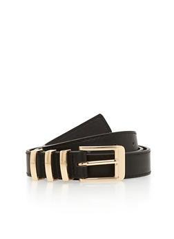Triple Metal Loop Faux Leather Belt - 1128073337018
