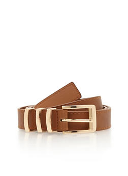 Triple Metal Loop Faux Leather Belt - 1128073337018