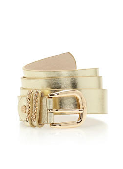 Double Loop Metallic Belt with Chain Accent - 1128073337021
