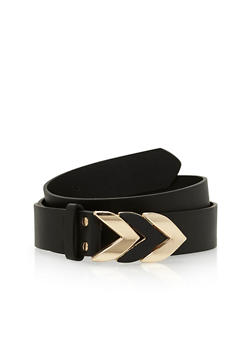 Plus Size Arrow Buckle Faux Leather Belt - 1128073337037
