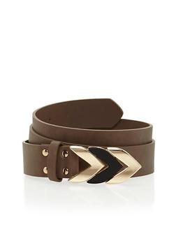 Plus Size Arrow Buckle Faux Leather Belt - 1128073337037