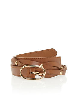 Studded Faux Leather Twist Belt - 1128073337051