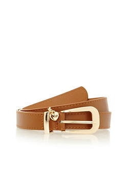 Faux Leather Belt with Heart Charm - 1128073337059