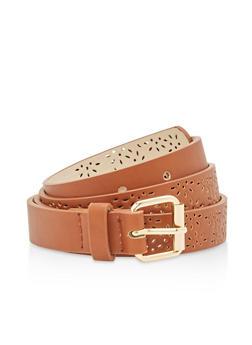 Laser Cut Faux Leather Skinny Belt - 1128073338014