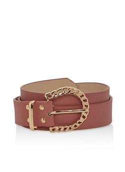Textured Faux Leather Chain Buckle Belt - 1128073338035