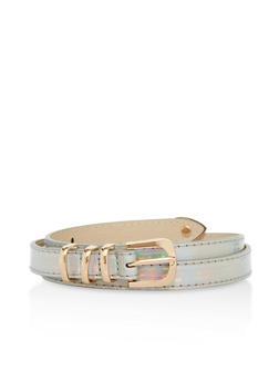 Holographic Metallic Accent Skinny Belt - 1128073338038