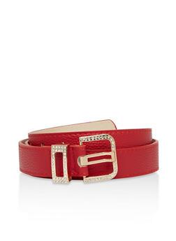 Textured Faux Leather Rhinestone Buckle Belt - 1128073338052