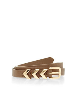 Chevron Looped Faux Leather Belt - 1128073338404