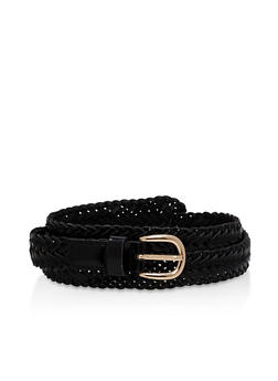 Braided Faux Leather Skinny Belt - 1128073339011