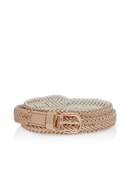 Braided Faux Leather Skinny Belt - 1128073339011