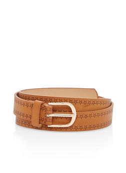 Faux Leather Star Embossed Belt - 1128073339144