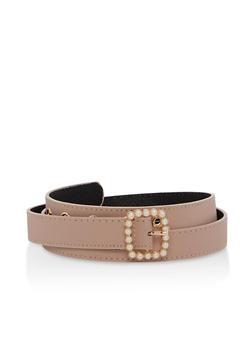 Faux Pearl Buckle Skinny Belt - 1128074396614