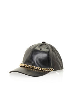 Faux Leather Baseball Hat with Chainlink Trim - 1129041652268