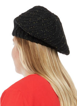 Knit Beret Hat with Metallic Threading - BLACK - 1129041658638