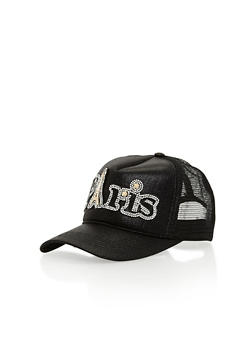 Paris Rhinestone Studded Trucker Hat - BLACK - 1129041659641