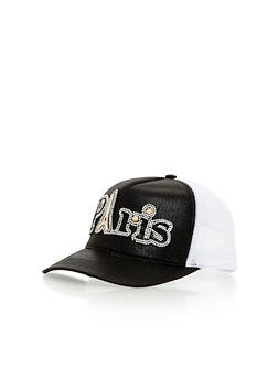 Paris Rhinestone Studded Trucker Hat - BLACK/WHITE - 1129041659641