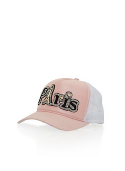 Paris Rhinestone Studded Trucker Hat - PEACH/WHITE - 1129041659641