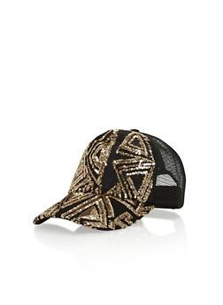 Sequin Trucker Hat - BLACK/GOLD - 1129041659651