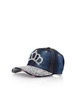 Denim Baseball Cap with Rhinestone Crown Detail - 1129042740101