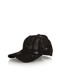 Lace Sequin Trucker Hat - BLACK - 1129067442407