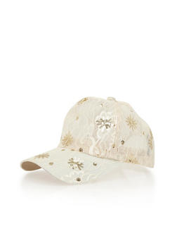 Lace Sequin Trucker Hat - IVORY - 1129067442407