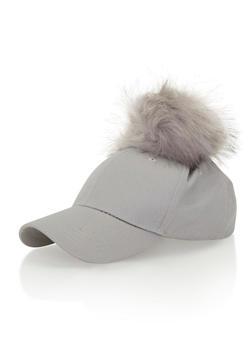 Baseball Hat with Faux Fur Pom Pom - 1129067446049
