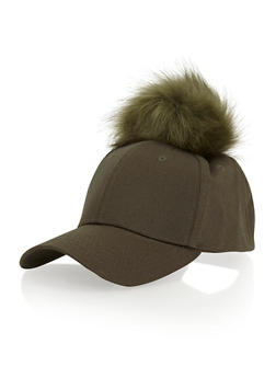 Baseball Hat with Faux Fur Pom Pom - 1129067446049