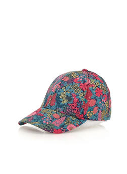 Vintage Floral Print Snapback Hat - PINK/TEAL - 1129067447000