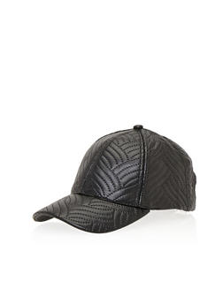 Faux Leather Snapback Hat with Stitched Design - 1129067447003