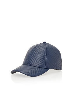 Faux Leather Snapback Hat with Stitched Design - NAVY                  299 - 1129067447003