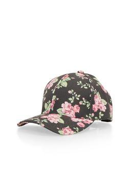 Floral Print Snapback Hat - 1129067447004