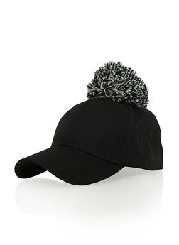 Snapback Hat with Yarn Pom Pom - 1129067447007