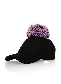 Snapback Hat with Yarn Pom Pom - LILAC/BLACK - 1129067447007