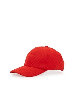 Diamond Quilt Baseball Cap with Snapback - RED - 1129067447018