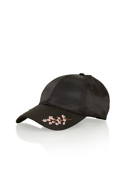 Satin Floral Embroidered Baseball Hat - BLACK - 1129067447024