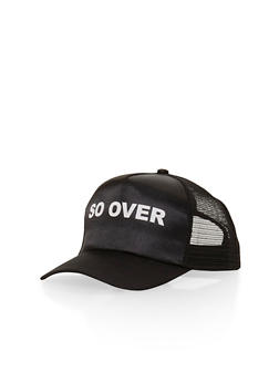 So Over Graphic Trucker Hat - BLACK/BLACK - 1129067447032