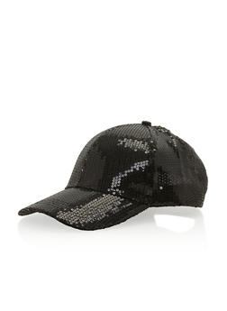 Sequined Snap Back Baseball Cap - BLACK - 1129067447047