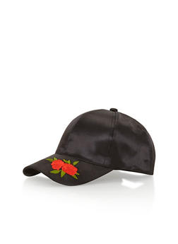 Satin Baseball Hat with Embroidered Floral Brim Detail - 1129067447049
