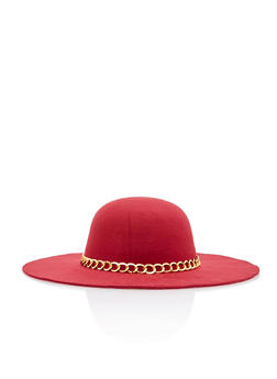Chain Trim Wool Floppy Hat - 1129067447124