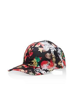 Floral Satin Baseball Hat - BLACK/RED - 1129067447125