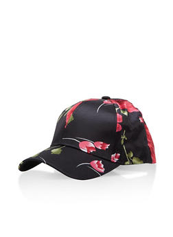 Floral Satin Baseball Hat - 1129067447126