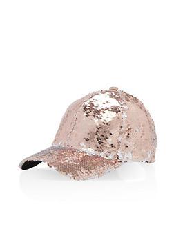 Reversible Sequin Baseball Hat - ROSE/WHITE - 1129067447127