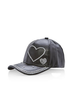 Metallic Faux Leather Rhinestone Studded Baseball Cap - BLACK - 1129067447133