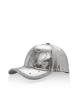 Metallic Faux Leather Rhinestone Studded Baseball Cap - 1129067447133