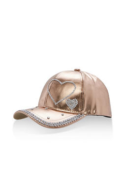 Metallic Faux Leather Rhinestone Studded Baseball Cap - ROSE - 1129067447133
