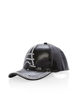 Rhinestone Studded Eiffel Tower Baseball Cap - BLACK - 1129067447134