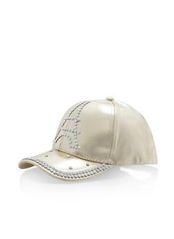 Rhinestone Studded Eiffel Tower Baseball Cap - GOLD - 1129067447134