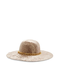 Crushed Velvet Floppy Hat with Chain Detail - 1129067447138